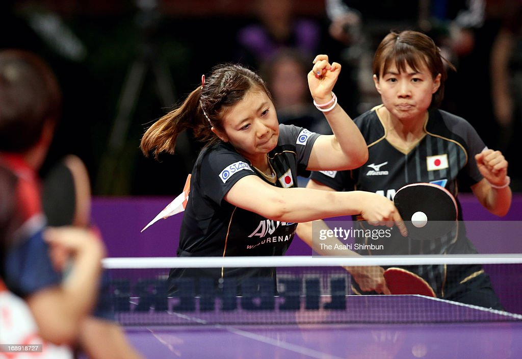 Ai Fukukara (L) and Sayaka Hirano of Japan compete against Chen Szu-Yu and Liu Hsing-Yin of Chienese Taipei in the Women's Doubles 2nd round during day four of the World Table Tennis Championships on May 16, 2013 in Paris, France.