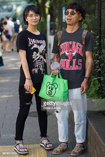Ai Miyata and Kazuki Yamashiro are seen on Meiji St on August 07 2016 in Tokyo Ai Miyata has a henna tattoo wearing a black band tshirt by Brahman...