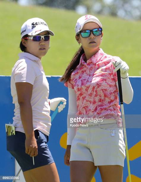 Ai Miyazato and Japanese compatriot Nasa Hataoka play a practice round at Pinnacle Country Club in Rogers Arkansas on June 20 ahead of the Arkansas...