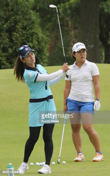 Ai Miyazato hits a shot in practice at Pinnacle Country Club in Rogers Arkansas on June 22 a day before the first round of the Arkansas Championship...