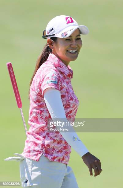 Ai Miyazato is pictured during her practice round with Japanese compatriot Nasa Hataoka at Pinnacle Country Club in Rogers Arkansas on June 20 ahead...