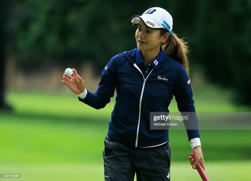 <a gi-track='captionPersonalityLinkClicked' href=/galleries/search?phrase=Ai+Miyazato&family=editorial&specificpeople=210510 ng-click='$event.stopPropagation()'>Ai Miyazato</a> of Japan acknowledges the gallery during the second round of the Cambia Portland Classic held at Columbia Edgewater Country Club on July 1, 2016 in Portland, Oregon.