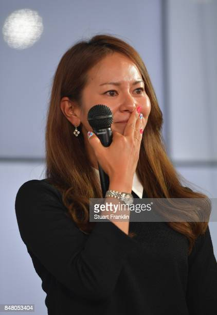 Ai Miyazato of Japan at the Rolex Annika Awards ceremony after the second round of The Evian Championship 2017 at Evian Resort Golf Club on September...