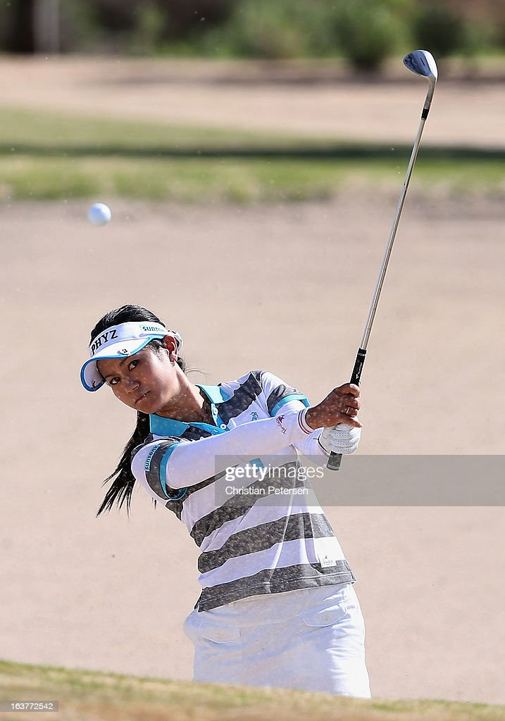 Ai Miyazato of Japan chips from the bunker onto the 15th hole green during the second round of the RR Donnelley LPGA Founders Cup at Wildfire Golf Club on March 15, 2013 in Phoenix, Arizona.