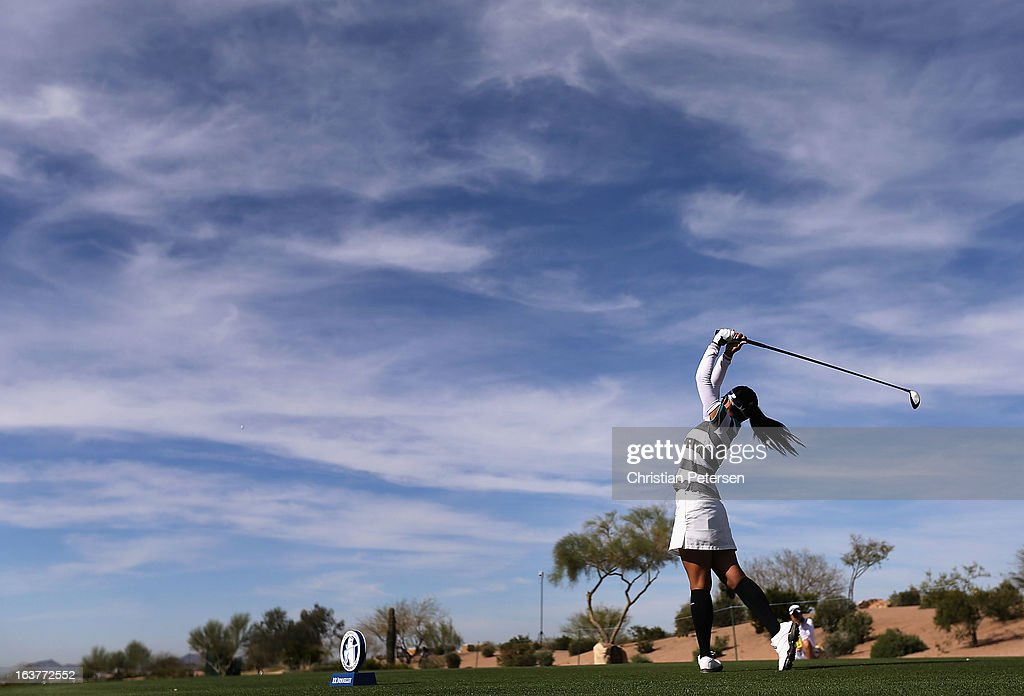 <a gi-track='captionPersonalityLinkClicked' href=/galleries/search?phrase=Ai+Miyazato&family=editorial&specificpeople=210510 ng-click='$event.stopPropagation()'>Ai Miyazato</a> of Japan hits a tee shot on the 16th hole during the second round of the RR Donnelley LPGA Founders Cup at Wildfire Golf Club on March 15, 2013 in Phoenix, Arizona.