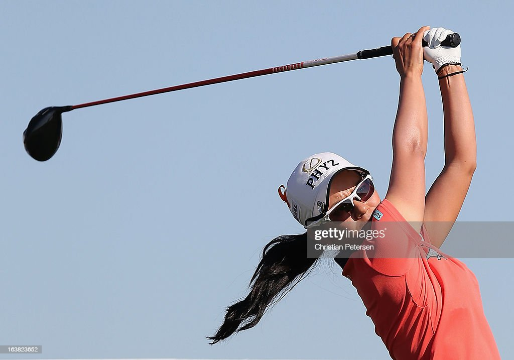 <a gi-track='captionPersonalityLinkClicked' href=/galleries/search?phrase=Ai+Miyazato&family=editorial&specificpeople=210510 ng-click='$event.stopPropagation()'>Ai Miyazato</a> of Japan hits a tee shot on the 18th hole during the third round of the RR Donnelley LPGA Founders Cup at Wildfire Golf Club on March 16, 2013 in Phoenix, Arizona.