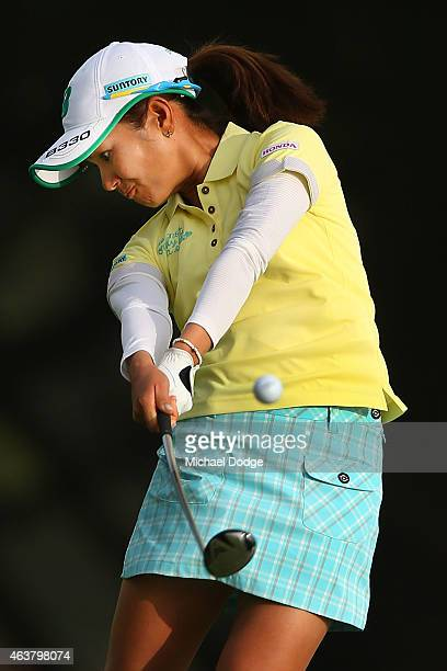 Ai Miyazato of Japan hits an approach shot on the 12th hole during day one of the LPGA Australian Open at Royal Melbourne Golf Course on February 19...