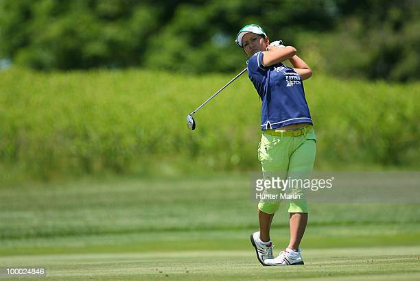 Ai Miyazato of Japan hits her second shot on the 14th hole during the first round of the Sybase Match Play Championship at Hamilton Farm Golf Club on...