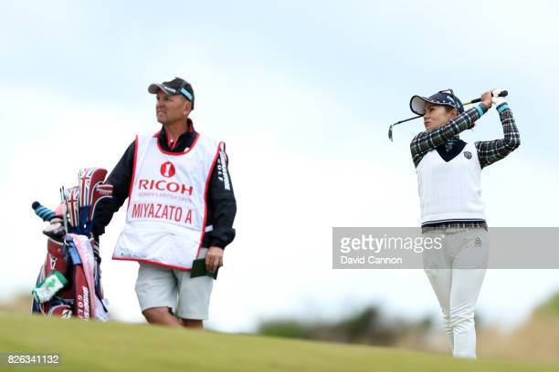 Ai Miyazato of Japan hits her second shot on the 4th hole during the second round of the Ricoh Women's British Open at Kingsbarns Golf Links on...