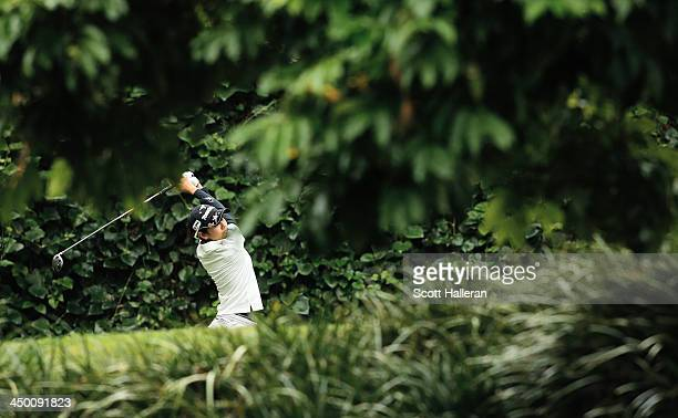Ai Miyazato of Japan hits her tee shot on the 11th hole during the third round of the Lorena Ochoa Invitational Presented by Banamex at the...