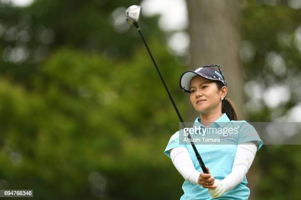 Ai Miyazato of Japan hits her tee shot on the 3rd hole during the final round of the Suntory Ladies Open at the Rokko Kokusai Golf Club on June 11...
