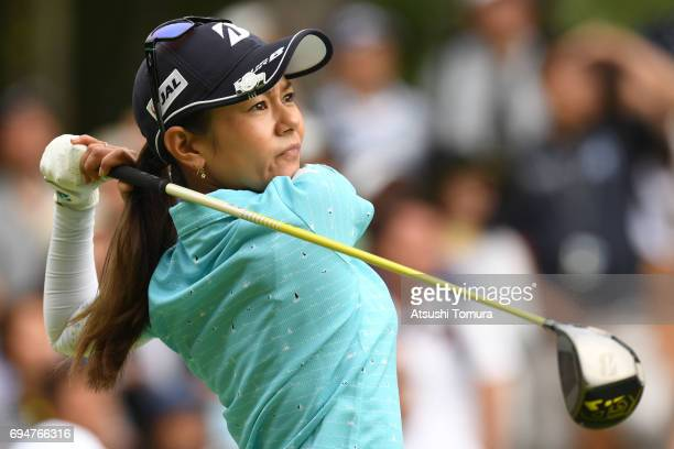 Ai Miyazato of Japan hits her tee shot on the 4th hole during the final round of the Suntory Ladies Open at the Rokko Kokusai Golf Club on June 11...