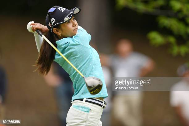 Ai Miyazato of Japan hits her tee shot on the 8th hole during the final round of the Suntory Ladies Open at the Rokko Kokusai Golf Club on June 11...