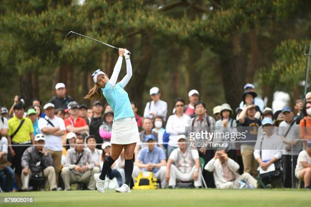 Ai Miyazato of Japan hits her tee shot on the 9th hole during the final round of the World Ladies Championship Salonpas Cup at the Ibaraki Golf Club...