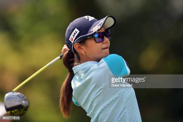 Ai Miyazato of Japan hits her tee shot on the seventh hole during the first round of the Walmart NW Arkansas Championship Presented by PG on June 23...