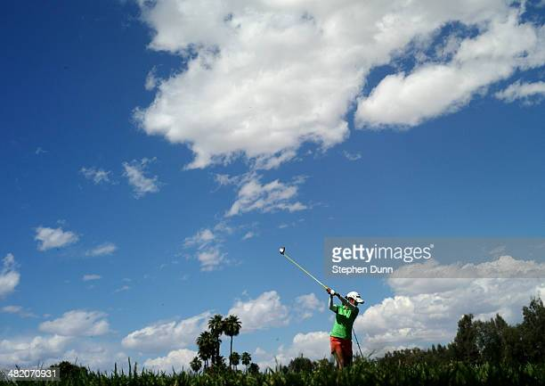 Ai Miyazato of Japan hits her tee shot on the sixth hole during practice rounds for the Kraft Nabisco Championship at Mission Hills Country Club on...
