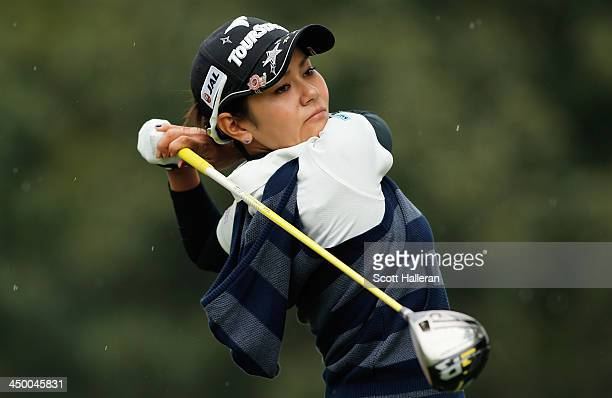 Ai Miyazato of Japan hits her tee shot on the third hole during the third round of the Lorena Ochoa Invitational Presented by Banamex at the...