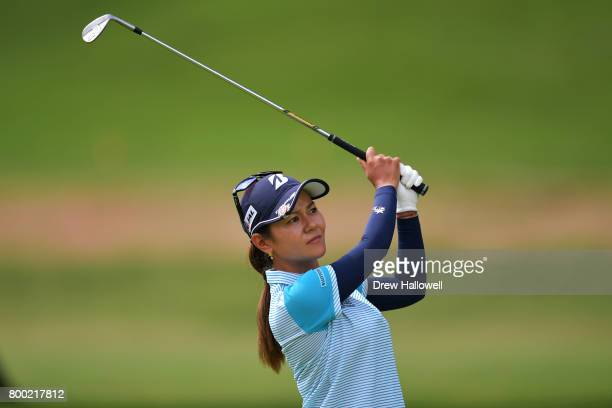 Ai Miyazato of Japan hits her third shot on the seventh hole during the first round of the Walmart NW Arkansas Championship Presented by PG on June...