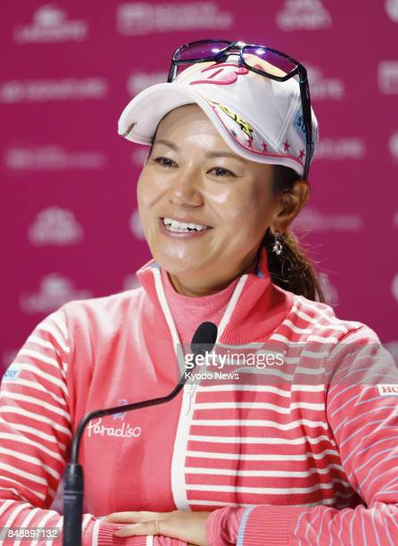 Ai Miyazato of Japan holds a press conference after completing her career at the Evian Championship in France on Sept 17 2017 Miyazato settled for...