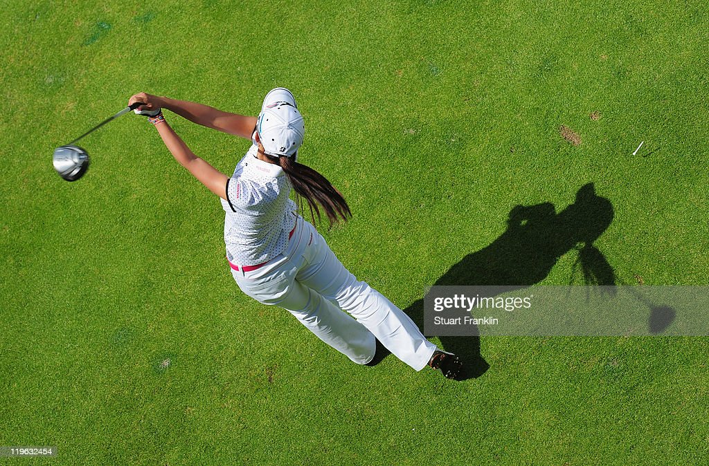 Ai Miyazato of Japan in action during the third round of the Evian Masters at the Evian Masters golf club on July 23, 2011 in Evian-les-Bains, France.