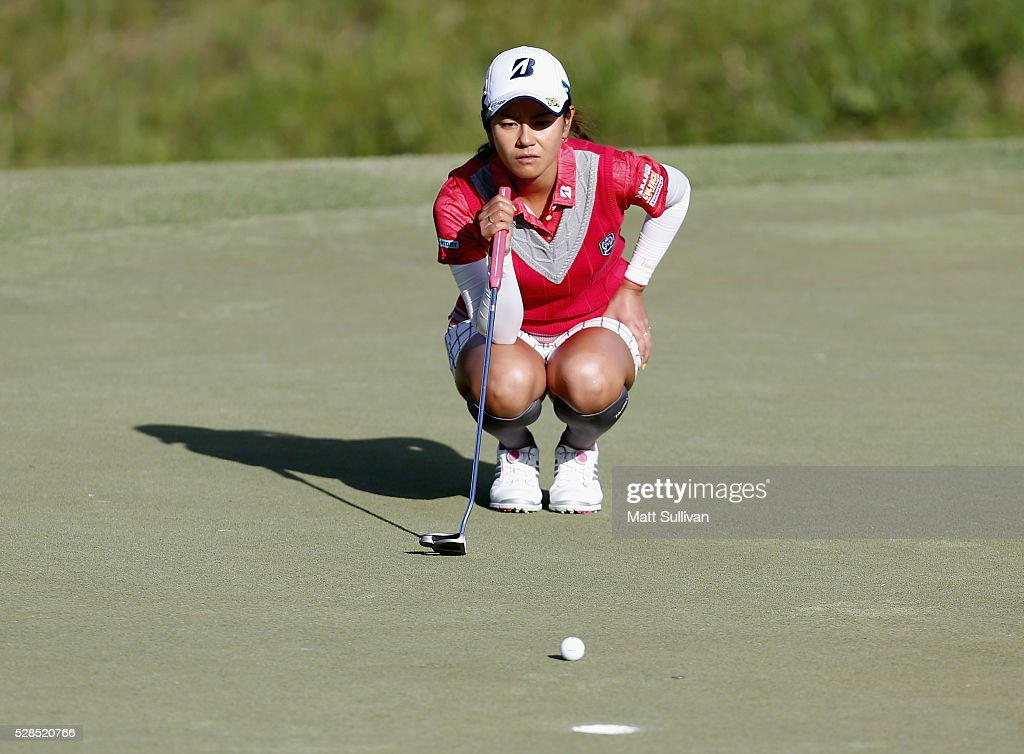 <a gi-track='captionPersonalityLinkClicked' href=/galleries/search?phrase=Ai+Miyazato&family=editorial&specificpeople=210510 ng-click='$event.stopPropagation()'>Ai Miyazato</a> of Japan lines up a birdie putt on the fourth hole during the Yokohama Tire Classic on May 05, 2016 in Prattville, Alabama.
