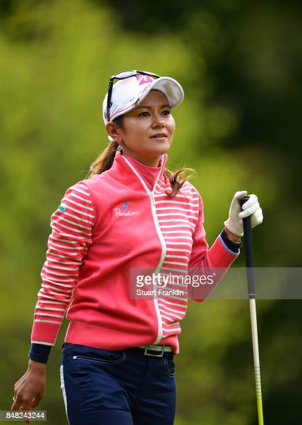 Ai Miyazato of Japan looks on during her last competative round of golf during the final round of The Evian Championship at Evian Resort Golf Club on...