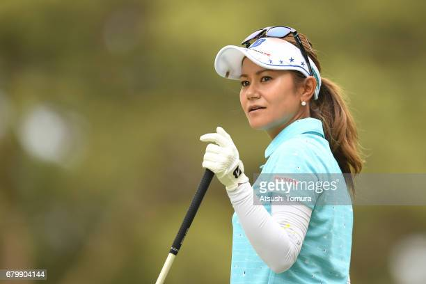 Ai Miyazato of Japan looks on during the final round of the World Ladies Championship Salonpas Cup at the Ibaraki Golf Club on May 7 2017 in...