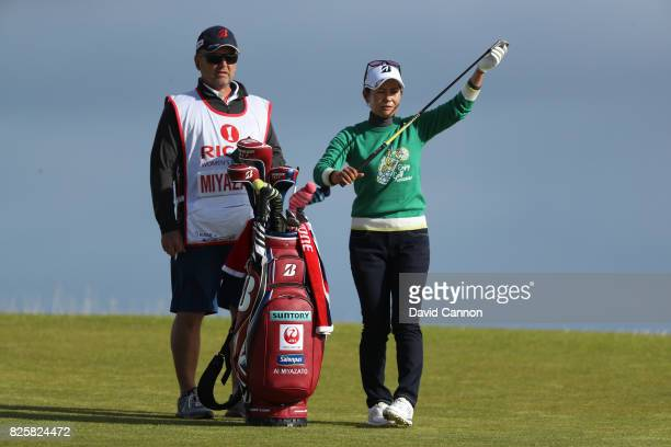 Ai Miyazato of Japan looks on during the first round of the Ricoh Women's British Open at Kingsbarns Golf Links on August 3 2017 in Kingsbarns...