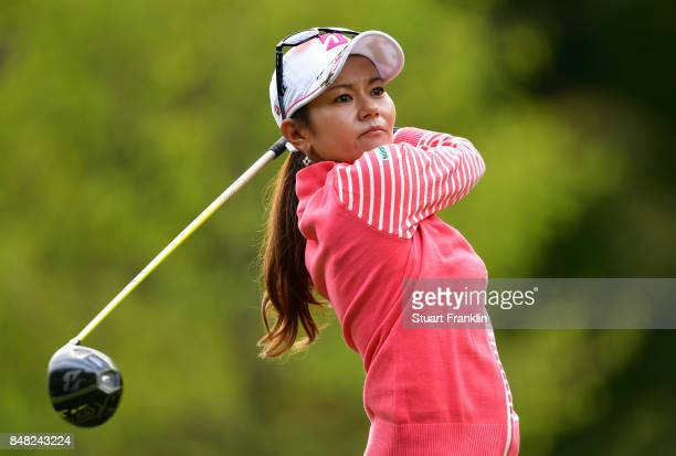 Ai Miyazato of Japan plays a shot as she plays her last competative round of golf during the final round of The Evian Championship at Evian Resort...