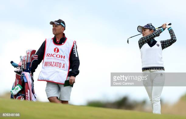 Ai Miyazato of Japan plays her second shot on the par 4 fourth hole during the second round of the Ricoh Women's British Open at Kingsbarns Golf...