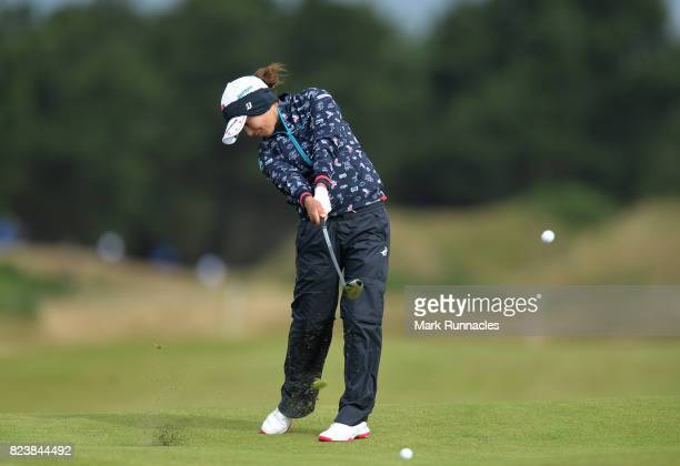 Ai Miyazato of Japan plays her second shot to the 17th during the second day of the Aberdeen Asset Management Ladies Scottish Open at Dundonald Links...
