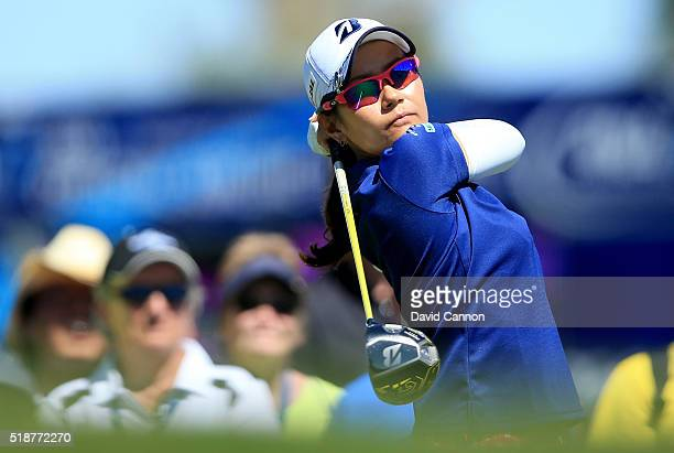 Ai Miyazato of Japan plays her tee shot at the par 3 fifth hole during the third round of the 2016 ANA Inspiration at the Mission Hills Country Club...