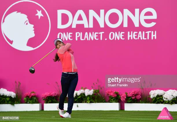 Ai Miyazato of Japan plays her tee shot on the firs hole as she starts her last competative round of golf during the final round of The Evian...