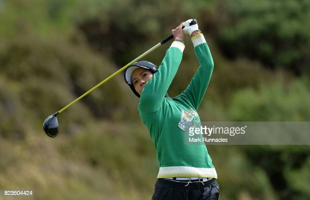 Ai Miyazato of Japan plays her tee shot to the 2nd hole during the first day of the Aberdeen Asset Management Ladies Scottish Open at Dundonald Links...