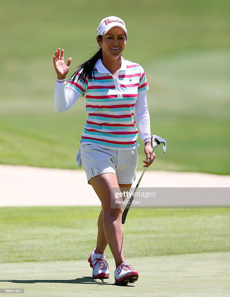 Ai Miyazato of Japan reacts after a birdie putt on the fourth green during the second round of the LPGA LOTTE Championship Presented by J Golf at the Ko Olina Golf Club on April 18, 2013 in Kapolei, Hawaii.