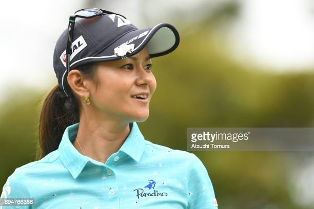 Ai Miyazato of Japan smiles during the final round of the Suntory Ladies Open at the Rokko Kokusai Golf Club on June 11 2017 in Kobe Japan