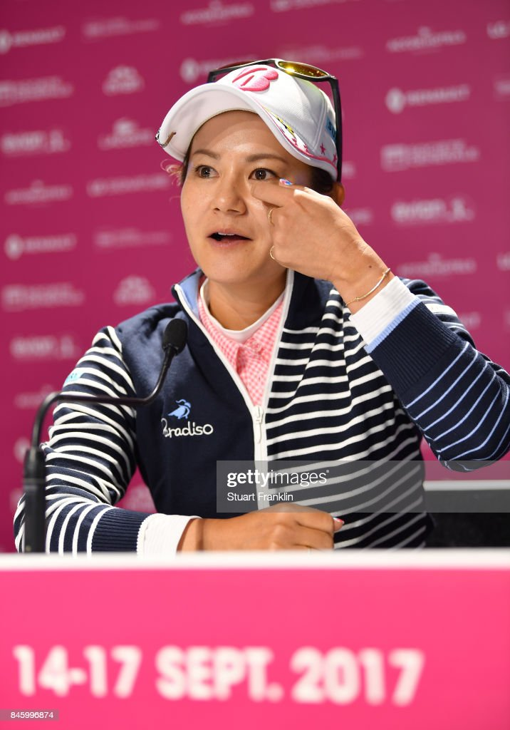 Ai Miyazato of Japan speaks to the media during a press conference prior to the start of The Evian Championship at Evian Resort Golf Club on September 12, 2017 in Evian-les-Bains, France. The Evian Championship will be the last event as a proffessional golfer for the former world number one.