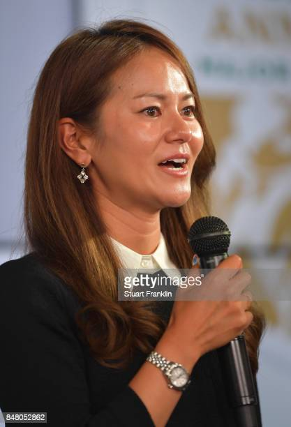 Ai Miyazato of Japan talks at the Rolex Annika Awards ceremony after the second round of The Evian Championship 2017 at Evian Resort Golf Club on...