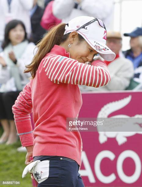 Ai Miyazato of Japan tears up after completing her career at the Evian Championship in France on Sept 17 2017 Miyazato settled for 32nd at the event...