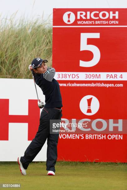 Ai Miyazato of Japan tees off on the 5th hole during a proam round prior to the Ricoh Women's British Open at Kingsbarns Golf Links on August 1 2017...