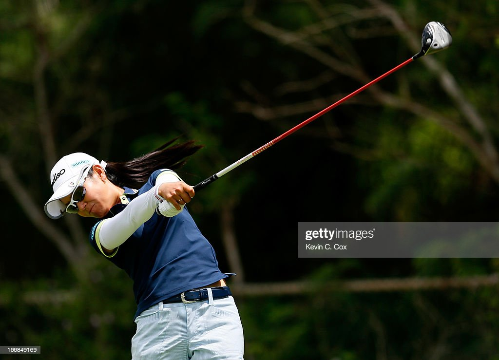 <a gi-track='captionPersonalityLinkClicked' href=/galleries/search?phrase=Ai+Miyazato&family=editorial&specificpeople=210510 ng-click='$event.stopPropagation()'>Ai Miyazato</a> of Japan tees off the fifth hole during the first round of the LPGA LOTTE Championship Presented by J Golf at the Ko Olina Golf Club on April 17, 2013 in Kapolei, Hawaii.
