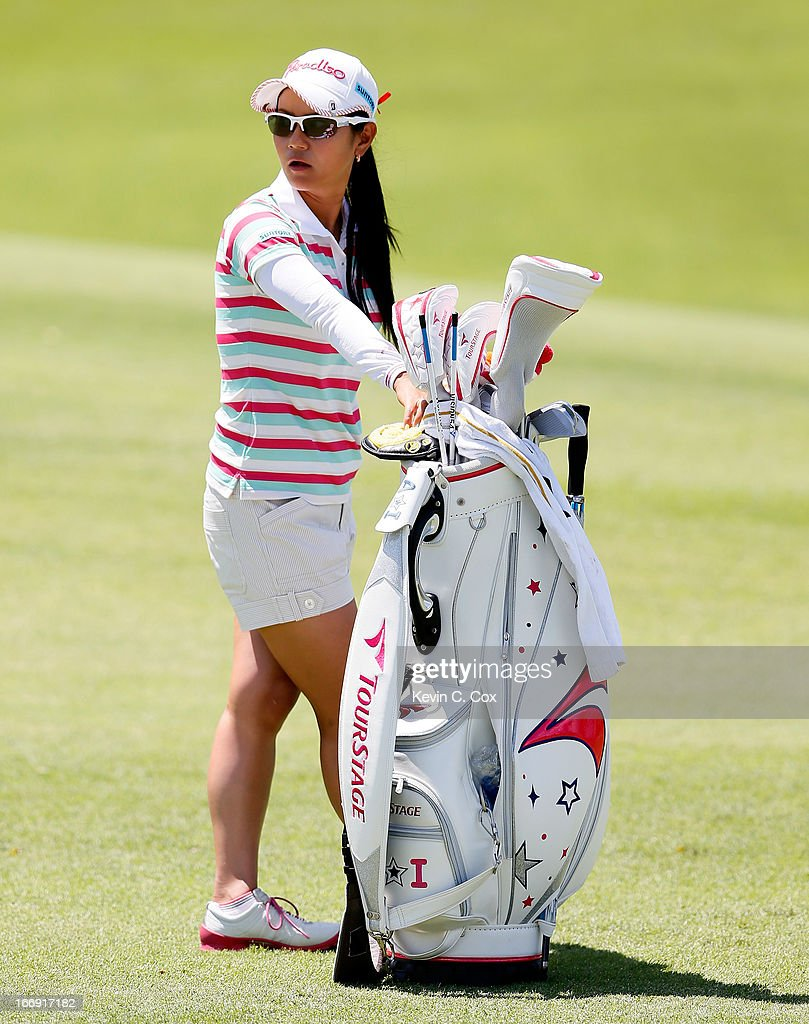Ai Miyazato of Japan waits to play her second shot on the fifth hole during the second round of the LPGA LOTTE Championship Presented by J Golf at the Ko Olina Golf Club on April 18, 2013 in Kapolei, Hawaii.