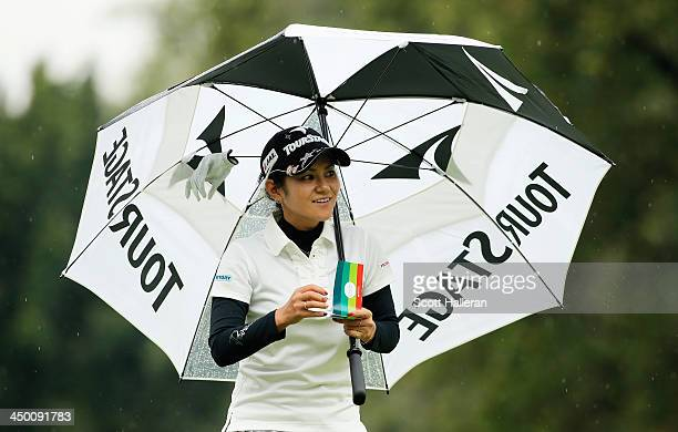 Ai Miyazato of Japan walks off the tenth green during the third round of the Lorena Ochoa Invitational Presented by Banamex at the Guadalajara...