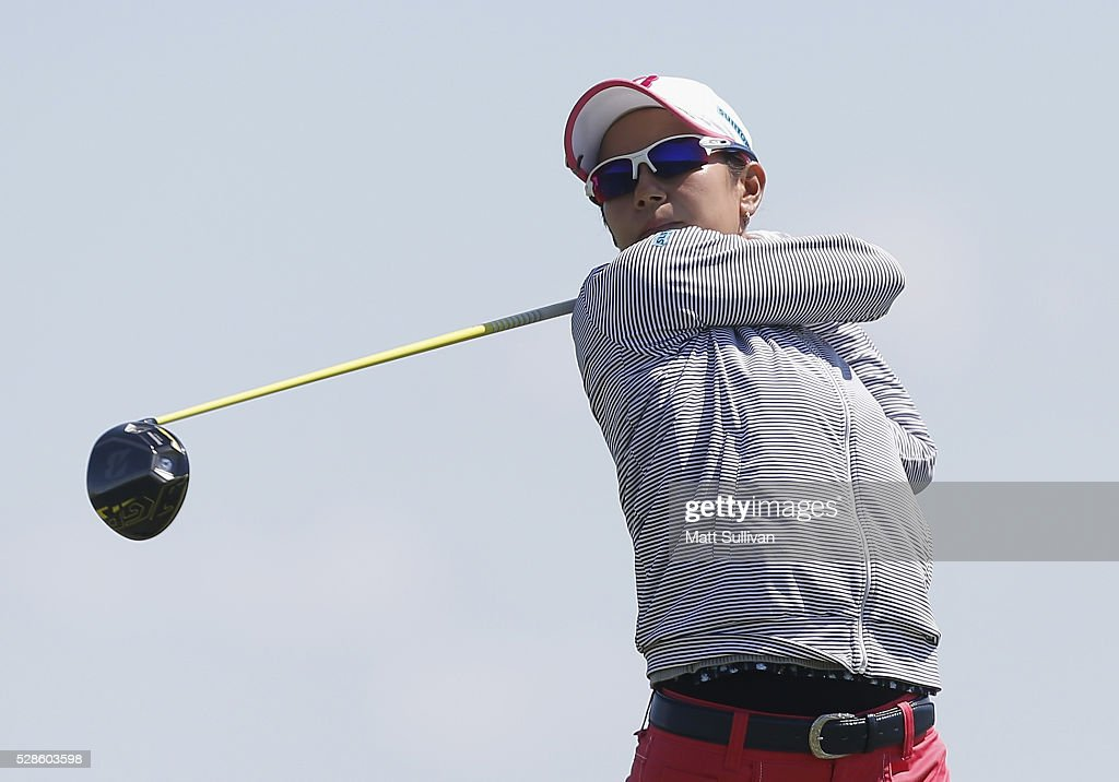 Ai Miyazato of Japan watches her tee shot on the ninth hole during the second round of the Yokohama Tire Classic on May 06, 2016 in Prattville, Alabama.