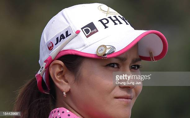 Ai Miyazato of Japan wearing sticker on her hat to honor Doug Brecht an LPGA rules official who passed away this past weekend during the second round...