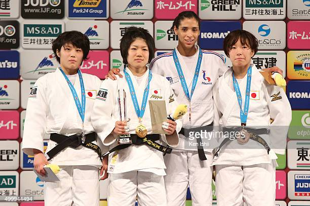 Ai Shishime of Japan Misato Nakamura of Japan Annabelle Euranie of France and Yuki Hashimoto of Japan pose for photo on the podium after the Women's...