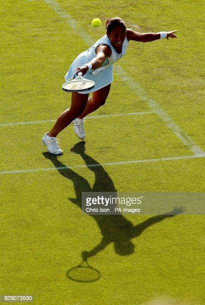 Ai Sugiyama of Japan in action on centre court during the Hastings Direct International Championships in Eastbourne West Sussex She was playing with...