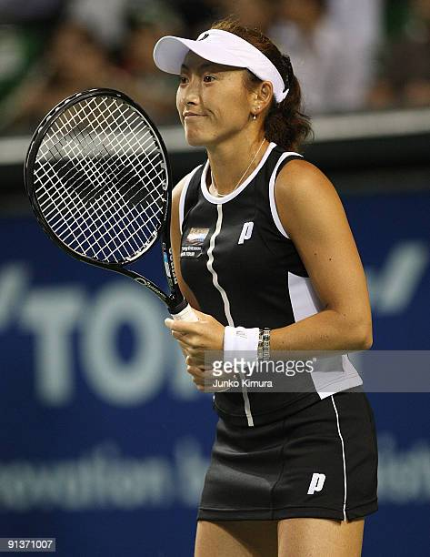 Ai Sugiyama of Japan warms up prior to her doubles final match with her partner Daniela Hantuchova of Slovakia against Francesca Schiavone of Italy...