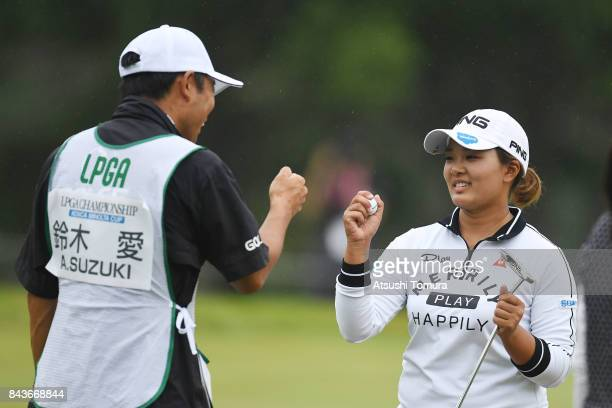 Ai Suzuki of Japan celebrates after making her birdie putt on the 9th hole during the first round of the 50th LPGA Championship Konica Minolta Cup...