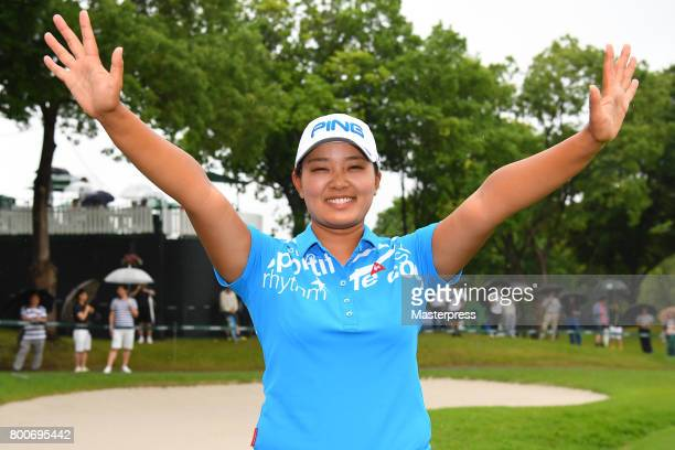 Ai Suzuki of Japan celebrates after winning the Earth Mondamin Cup at the Camellia Hills Country Club on June 25 2017 in Sodegaura Japan